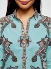 Блузка принтованная из легкого хлопка oodji #SECTION_NAME# (бирюзовый), 21411144-1/12836/7335E - вид 4