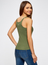 Майка-борцовка с люверсами на лямках oodji для женщины (зеленый), 24305006B/46164/6900N - вид 3