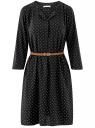 Платье вискозное с ремнем oodji #SECTION_NAME# (черный), 11900180B/48458/2910D