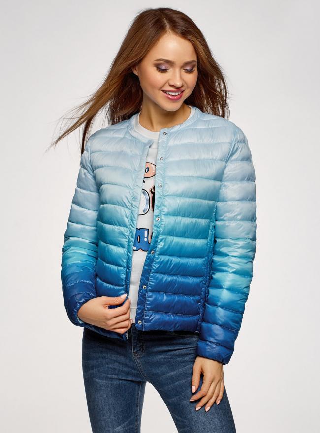 Куртка стеганая с круглым вырезом oodji для женщины (синий), 10204040-1B/42257/7075T