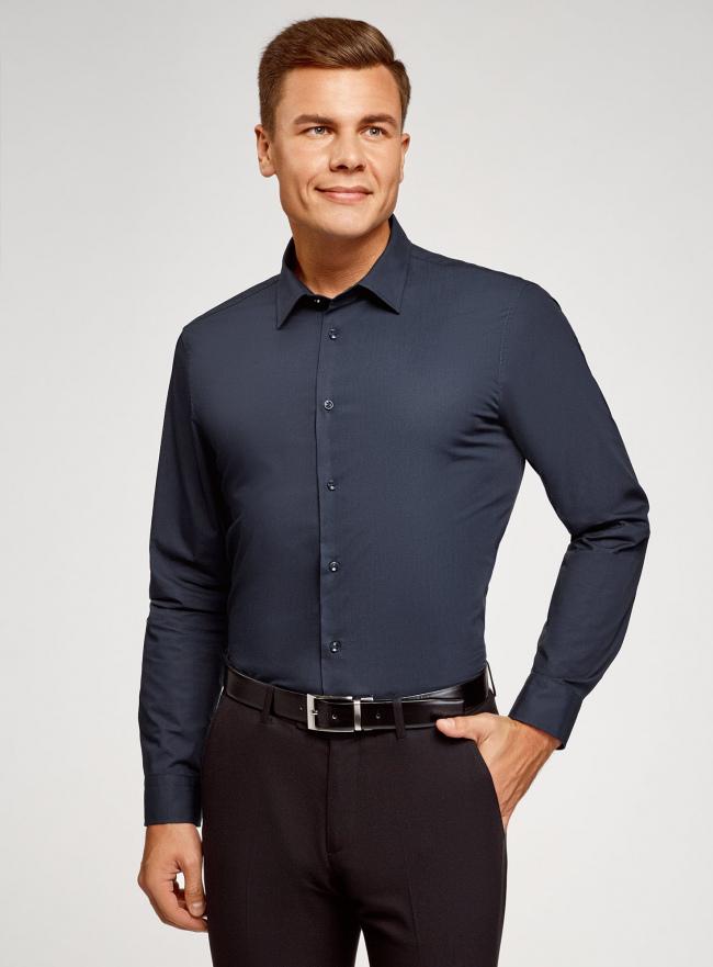 Рубашка базовая extra slim oodji #SECTION_NAME# (синий), 3B110005M/23286N/7900N