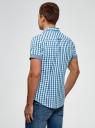 Рубашка клетчатая с отворотами на рукавах oodji для мужчины (синий), 3L410119M/34319N/7575C