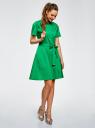 Платье-рубашка с поясом oodji #SECTION_NAME# (зеленый), 21900311/42358/6D00N - вид 6