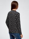 Блузка из струящейся ткани с контрастной отделкой oodji #SECTION_NAME# (черный), 11411059B/43414/2912F - вид 3