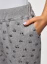 Брюки трикотажные на завязках oodji для женщины (серый), 16701042/46919/2329O