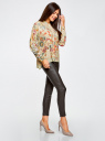 Блузка свободного силуэта с цветочным принтом oodji #SECTION_NAME# (бежевый), 21411109/46038/3319F - вид 6