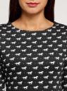 Платье базовое принтованное oodji #SECTION_NAME# (черный), 14011038-2B/37809/2912O - вид 4