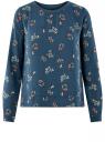 Блузка прямого силуэта на подкладке oodji #SECTION_NAME# (синий), 11411190/48854/7519F