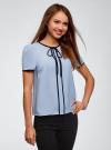 Блузка с коротким рукавом и контрастной отделкой oodji для женщины (синий), 11401254/42405/7029B - вид 2