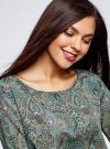 Блузка принтованная с вырезом-лодочкой oodji #SECTION_NAME# (зеленый), 21400405/26546/6E35E - вид 4