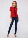 Блузка с коротким рукавом и контрастной отделкой oodji для женщины (красный), 11401254/42405/4500N