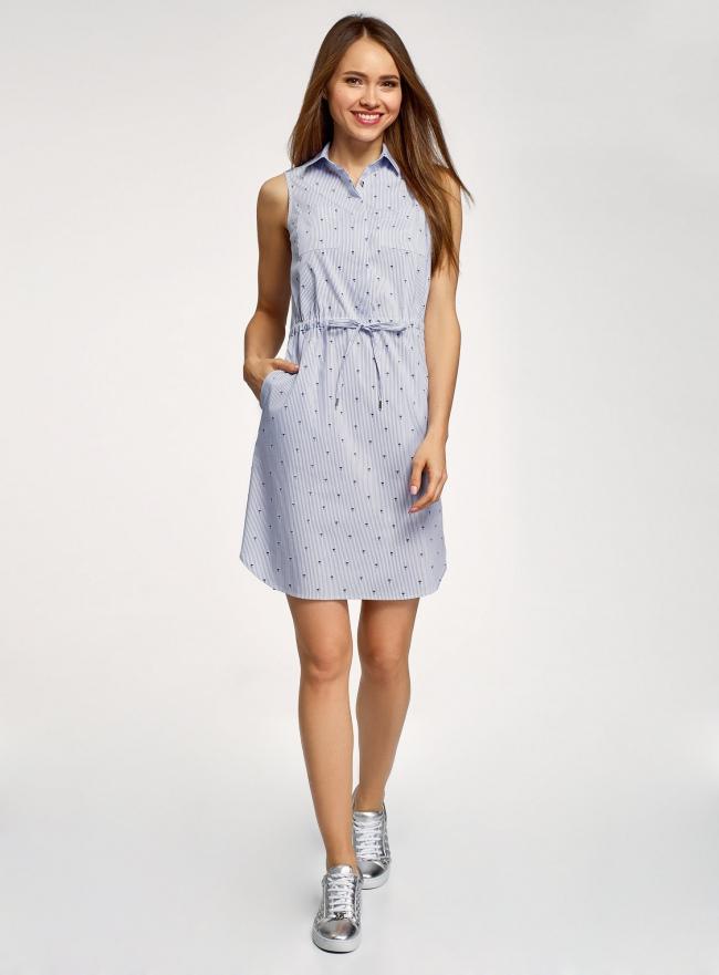 Платье хлопковое на кулиске oodji #SECTION_NAME# (синий), 11901147-4B/45202/1079O