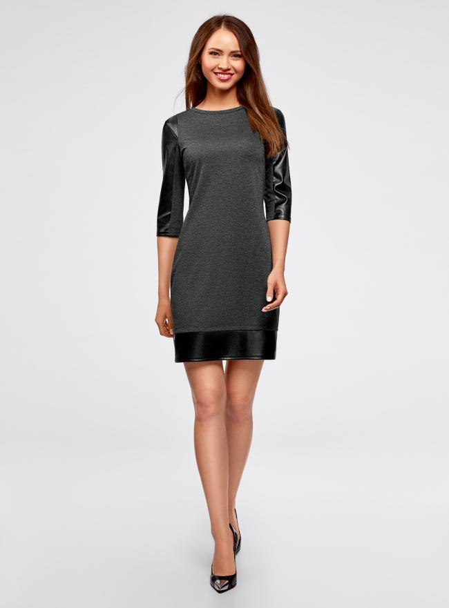 Платье с отделкой из искусственной кожи oodji для женщины (серый), 14001143-4B/46944/2529B