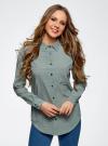 Блузка прямого силуэта с нагрудным карманом oodji #SECTION_NAME# (зеленый), 11411134B/46123/6E12G - вид 2