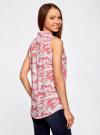 Топ вискозный с нагрудным карманом oodji для женщины (розовый), 11411108B/26346/4041O - вид 3
