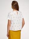 Блузка хлопковая свободного силуэта oodji для женщины (белый), 13K01008/13175N/1052O