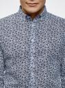 Рубашка льняная принтованная oodji #SECTION_NAME# (синий), 3L110323M/48268N/1079F - вид 4