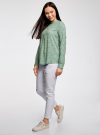 Блузка вискозная А-образного силуэта oodji #SECTION_NAME# (зеленый), 21411113B/26346/6529F - вид 6