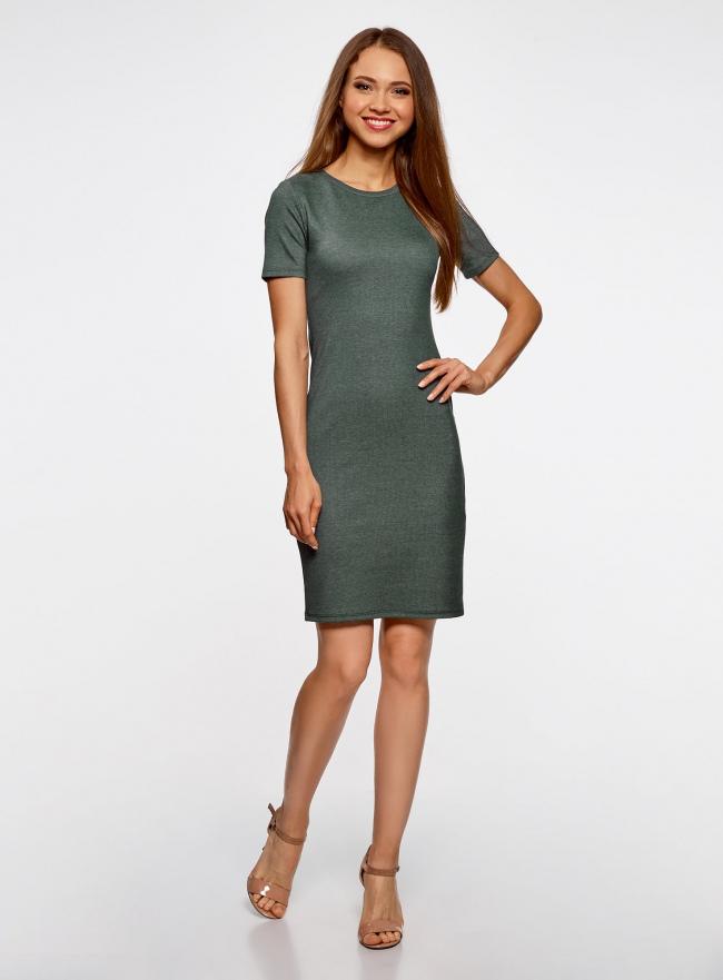Платье в рубчик oodji #SECTION_NAME# (зеленый), 14011031/47349/6923N