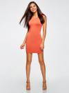 Платье трикотажное облегающего силуэта oodji для женщины (оранжевый), 14008014/16300/5500N - вид 2