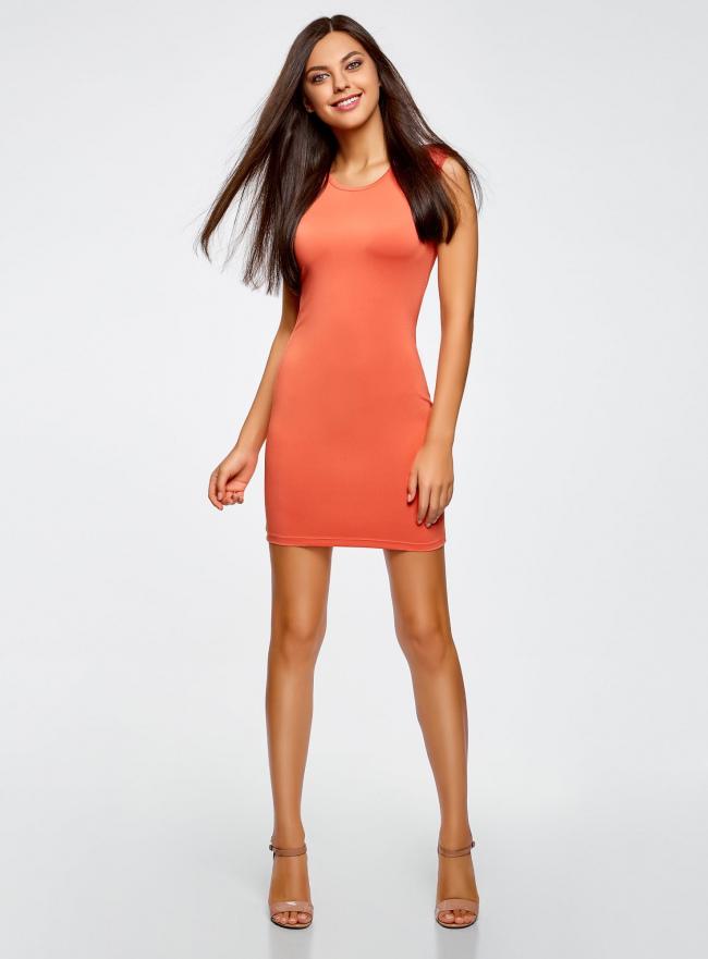 Платье трикотажное облегающего силуэта oodji #SECTION_NAME# (оранжевый), 14008014/16300/5500N