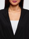 Кардиган без застежки с поясом oodji для женщины (черный), 73212237-1/18715/2900N