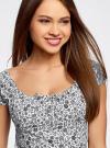 Платье хлопковое со сборками на груди oodji #SECTION_NAME# (белый), 11902047-2B/14885/1029F - вид 4