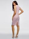Платье в рубчик с воротником-стойкой oodji #SECTION_NAME# (розовый), 14005138-2/46412/4000N - вид 3