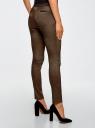 Брюки стретч с поясом из искусственной кожи oodji для женщины (коричневый), 11708080-4/47402/2930G