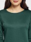 Платье трикотажное с рукавом 3/4 oodji #SECTION_NAME# (зеленый), 24001100-2/42408/6E00N - вид 4
