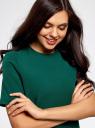 Платье однотонное прямого кроя oodji #SECTION_NAME# (зеленый), 21910002-1/42354/6E00N - вид 4