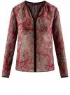 Блузка из струящейся ткани с контрастной отделкой oodji #SECTION_NAME# (красный), 11411059-2/38375/4912E