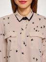 Блузка свободного силуэта из струящейся ткани oodji #SECTION_NAME# (бежевый), 11401282/49474/3329O - вид 4