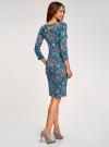 Платье трикотажное с вырезом-капелькой на спине oodji #SECTION_NAME# (синий), 24001070-5/15640/7630F - вид 3
