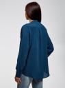 Блузка вискозная А-образного силуэта oodji #SECTION_NAME# (синий), 21411113B/42540/6C00N - вид 3