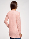 Кардиган ажурной вязки без застежки oodji #SECTION_NAME# (розовый), 63210145-1/18231/4001N - вид 3