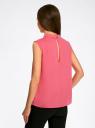 Блузка базовая без рукавов с воротником oodji #SECTION_NAME# (розовый), 11411084B/43414/4D00N - вид 3