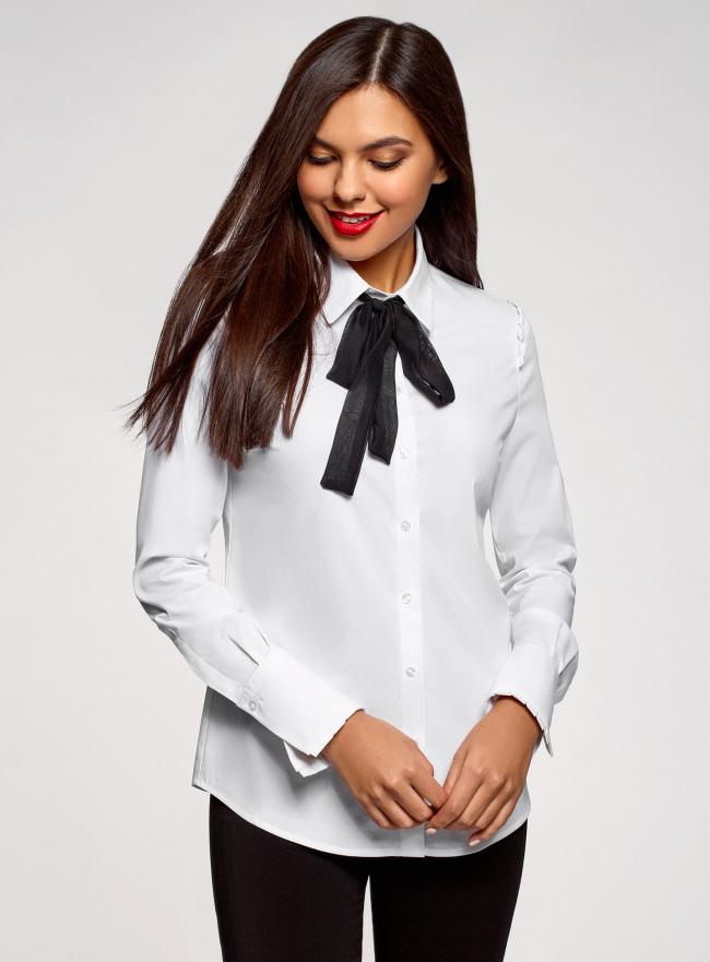 Рубашка хлопковая с контрастным бантом oodji #SECTION_NAME# (белый), 13K01009/48462/1029B