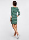 Платье трикотажное в полоску oodji #SECTION_NAME# (зеленый), 14001071-10/46148/6E25S - вид 3