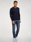 Пуловер базовый с V-образным вырезом oodji #SECTION_NAME# (синий), 4B212007M/39796N/7900N - вид 6