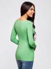 Футболка с длинным рукавом (комплект из 2 штук) oodji для женщины (зеленый), 24201007T2/46147/6500N - вид 3