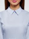 Блузка хлопковая с баской oodji #SECTION_NAME# (синий), 13K00001-1B/42083/7000N - вид 4