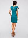 Платье с рукавами-крылышками и украшением на горловине oodji #SECTION_NAME# (бирюзовый), 21909002/42720/7300N - вид 3