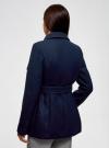 Пальто с поясом и асимметричной застежкой oodji для женщины (синий), 10104041-2/43442/7900N - вид 3