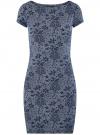 Платье трикотажное с принтом oodji #SECTION_NAME# (синий), 14001117-4/16564/7912G