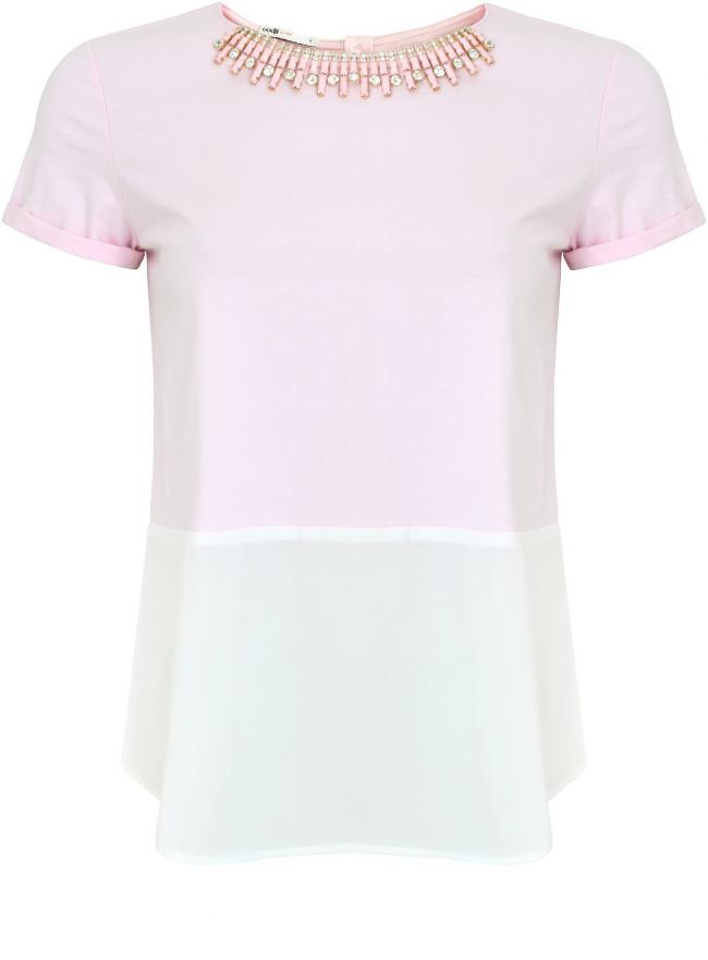Комбинированная трикотажная блузка oodji для женщины (розовый), 11301519/42861/4010B
