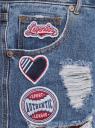 Шорты джинсовые с нашивками и потертостями oodji #SECTION_NAME# (синий), 12807093/45254/7500W - вид 5