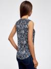 Блузка принтованная с V-образным вырезом oodji #SECTION_NAME# (синий), 21400388-3/35542/7912E - вид 3