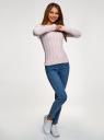"""Джемпер фактурной вязки """"в косичку"""" oodji для женщины (розовый), 73807617-1B/49296/4000M"""