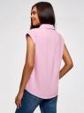 Рубашка хлопковая с нагрудными карманами oodji #SECTION_NAME# (розовый), 13L11008/47730/4000N - вид 3